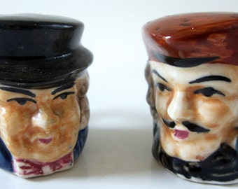Vintage TOBY STYLE Ornate Raised Design Salt Pepper Shaker Set Japan Miniature Cup Hand Painted