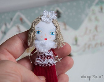 SALE -15% Christmas Tiny Girl - Art doll brooch mixed media collage