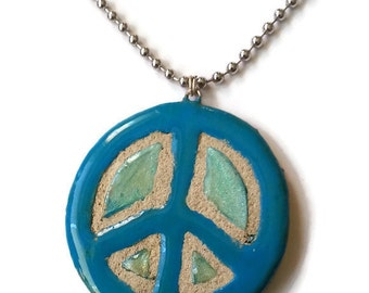 Hippie Jewelry - Ceramic Clay Pendant - INTERCHANGEABLE - Peace Sign
