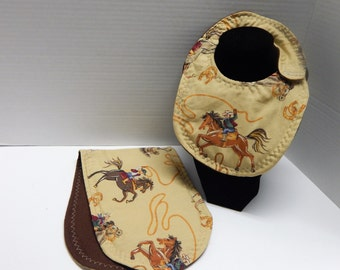 Newborn Baby  Bib and Burp Cloth Set Cowboys