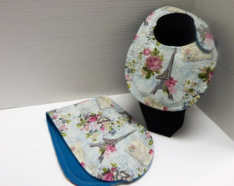 Newborn Baby  Bib and Burp Cloth Set Paris