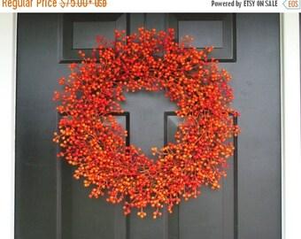 FALL WREATH SALE Orange Weatherproof Berry Halloween Wreath, Fall Wreath, Halloween Decor, Halloween Decoration, Weatherproof Berries 24 inc