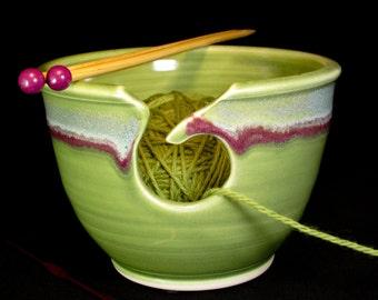 Yarn Bowl - Green Knitting Bowl - Ceramic Yarn Bowl - Yarn Basket - YarnBowl - In Stock