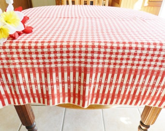 Red Vintage Tablecloth, Red Restaurant Style Tablecloth, Red Restaurant Tablecloth,