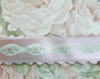 French Ribbon, Hendlers Jacquard Ribbon, Petite Fleur  Ribbon, Vintage French Ribbon, 2 yds