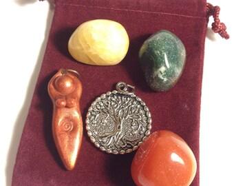 Tree Goddess Blessing Pocket Altar (spiral goddess, forest, mini altar, medicine bundle, blessing pouch, priestess, ritual, ceremony)