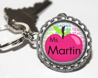 PERSONALIZED Teacher Neon Apple Bottlecap Keychain - Teacher Appreciation, Thank You Gift, Back to School, Holiday Gift