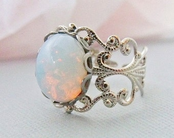 Opal Ring, White Pinfire Glass Opal,  Silver Adjustable Opal Rings, October Birthstone Jewelry, Filigree Ring Band
