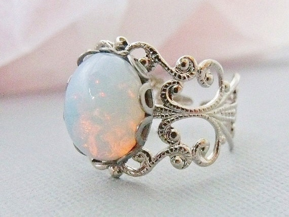Opal Rings, White Pinfire Glass Opal,  Silver Adjustable Opal Rings, October Birthstone Jewelry, Filigree Ring Band