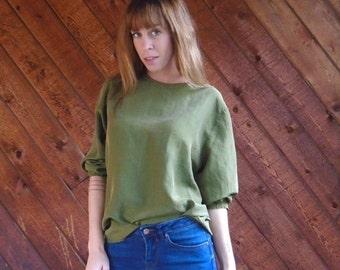 30% off ... Olive Green Silk LS Keyhole Back Blouse - Vintage 90s - MEDIUM M