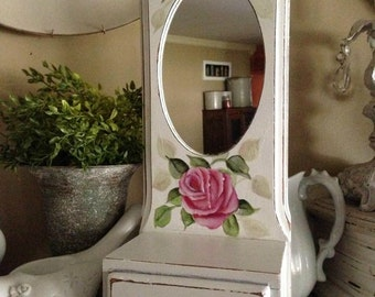 shabby roses shelf, shabby chic decor, cottage decor, pink roses decor, wall decor, country chic decor, romantic country, french country,