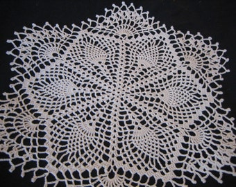 Crochet doily, white, vintage style, pineapple designed, dainty, made by Demet