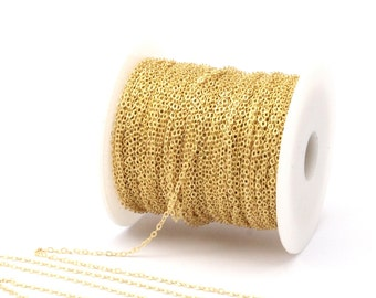 Tiny Chain, Brass Chain, Solder Chain, 10 M - (1.5 x 2 mm) Raw Brass Soldered Chain -( Z001 )