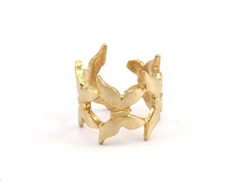 Brass Butterfly Ring - 3 Raw Brass Adjustable Butterfly Rings N028
