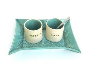 please pass the salt ...  petite hand built porcelain salt and pepper cellars sitting on a tray