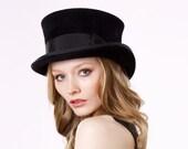 Top Hat- Black Top Hat- Victorian Riding Hat- Coachmans Hat- Fall Fashion- Steampunk Fashion- John Bull Top Hat- Formal Hat- Dressy Hat