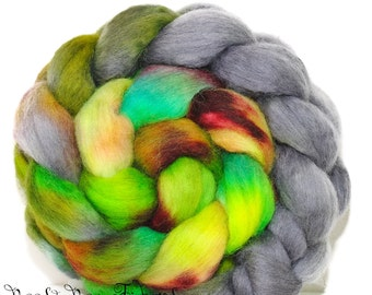 TOUCANET - Corriedale Hand Painted Wool Roving Combed Top Spinning or Felting Fiber - 4.1 oz