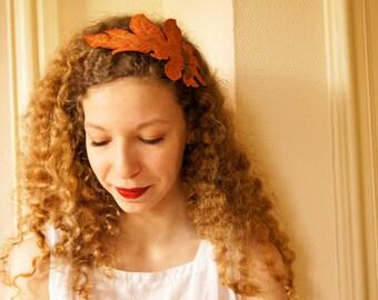 SALE Fiber Art Headband Acanthus Leaf Orange Brocade Botanical Hair Accessory Nature Lover Gift Textile Art Free Shipping