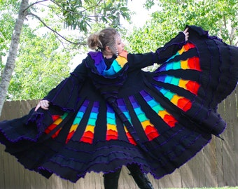 Ready to Ship- Upcycled Rainbow Sweater Coat with a Medieval Liripipe Hood by SnugglePants- Cascade Waterfall