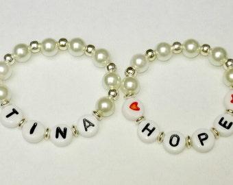 Baby Name Pearl Bracelet, Personalized Bracelet, Baby Bracelet