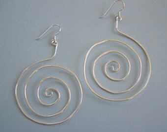 Sterling Silver Large Swirl Earrings