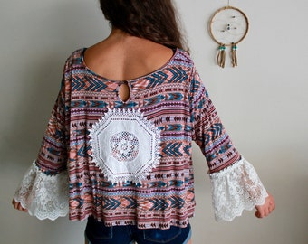 Boho Pattern Tent Trapeze Cropped Flowy Lace Bell Sleeve Crochet Back Top Eco Hippie Chic Babydoll Style Bohemian Shirt Size Medium