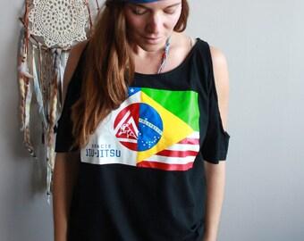Gracie Jiu Jitsu Jiu-Jitsu Eco Friendly Cut Out open Off The Shoulder Upcycled Tshirt/Tee/Top/Shirt One Size OOAK