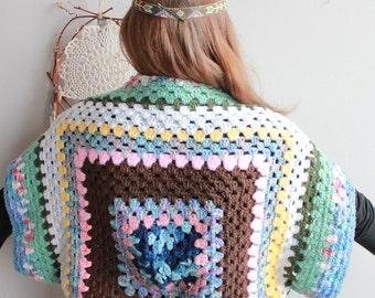 Colorful Granny Square Native Trim Crochet Bohemian Dreamer Cropped Sweater/Shrug/Cardigan Festival Batwing Kimono Dolman Sleeves Women