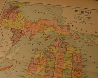 1885 State Map Michigan - Vintage Antique Map Great for Framing 100 Years Old