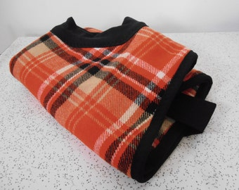 plaid checks in red, black and beige...winter coat for a whippet in vintage wool and polar fleece