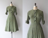 Chlorophyta dress | vintage 1950s dress | woven 50s day dress