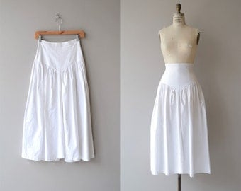 Summer Tour skirt | midi skirt | vintage 1980s skirt | high waist white cotton 80s skirt