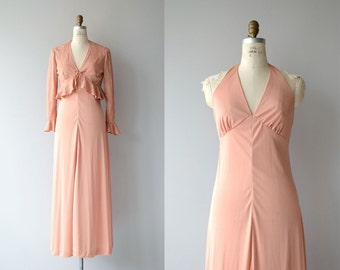 Dreamsicle dress and jacket | vintage 1970s maxi dress | 70s halter dress