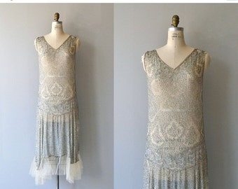 25% OFF.... Conte Merveilleux dress | vintage 1920s beaded dress | silver silk 20s dress