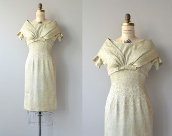 Fresh Fennel dress | vintage 1950s dress | brocade 50s dress