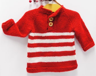 Baby sweater, holiday baby sweater, pullover sweater with long sleeves hand knit, two-button pullover, Ready to Ship- ships free to USA