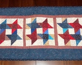 Americana Patriotic, Table Runner, Dining Table Decor, Quilted Scrappy Stars, 14x30 inches, Table Topper, Machine Quilted