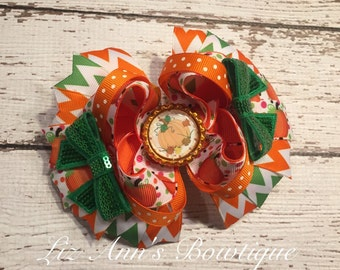 Thanksgiving Pumpkin boutique bow ready to ship