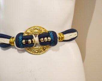 Vintage Belt Electric Gold and Blue Stretch