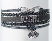 Black car racing Nascar Handmade Infinity Bracelet
