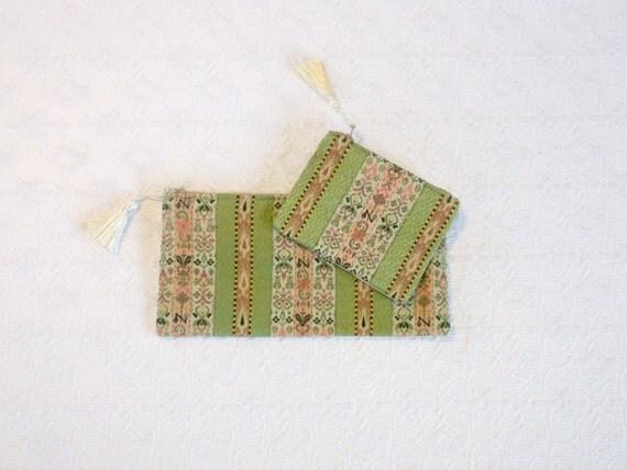 Vintage Boho Floral Olive Pink Silk Brocade Pencil Case Coin Purse Set 2pc