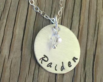 Custom name pendant hand stamped personalized gift for her- Sterling silver necklace gift for her mommy women's jewelry birthstone crystal