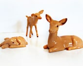 Vintage Deer Family Figurines 1960's Doe and Two Fawns Cute Home Decor Collectible , Hand painted perfect for Holiday table , Art or Nursery