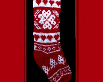 Hand knit Christmas stocking,  Personalized, made of pure wool yarn,  fully lined -- snowflake, tree and heart