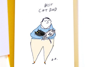 Best Cat Dad Card - Father's Day Cat card - Card for Cat Dad