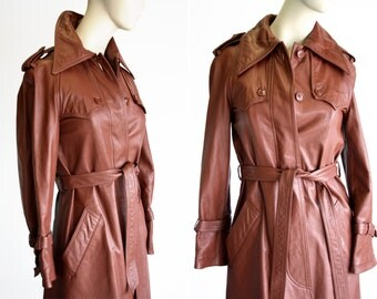 P.B.D. Originals Woman's XS Vintage Lined Brown LeatherTrench Coat
