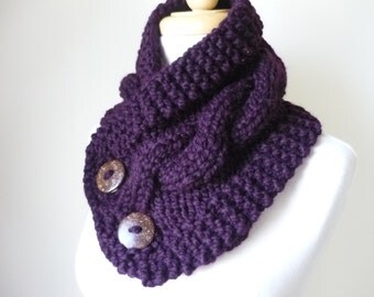 "Knit Neck Warmer, Cable Knit Scarf,  Chunky Warm Winter Scarf in Eggplant 6"" x 25"" Coconut Shell Buttons Ready to Ship - Direct Checkout"