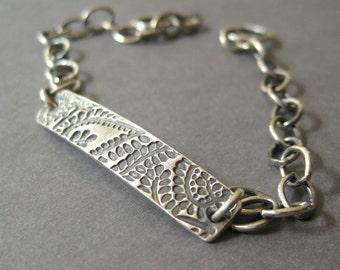 Fine Silver Bar Bracelet, Sterling Silver bracelet, ID Bracelet, Boho bracelet, Layering Bracelet