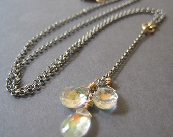 Mystic Quartz Y Necklace, Mixed Metal Necklace, Silver Gold Necklace, Gemstone Necklace, Cocktail Jewelry, Party Bling