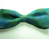 Green Blue Lavender Plaid New Pretied Bow Tie Adjustable Neckband Men Boys Handcrafted Bowtie Gustys